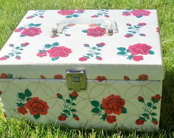 """Sewing Box """"Borgene"""" quilted fabric sewing box, rose design sewing box, small storage box,make up storage"""