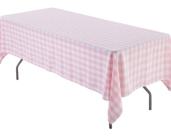 60 X 108 Inch Rectangular Tablecloth Pink And White Gingham Check Polyester