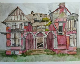 Haunted Victorian House Watercolor