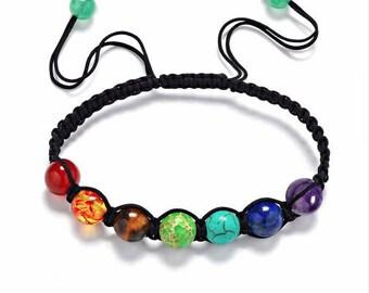 7 Chakra Healing Bracelet with Volcanic Lava, Mala Bracelet Meditation Bracelet - Protection, Energy,Healing