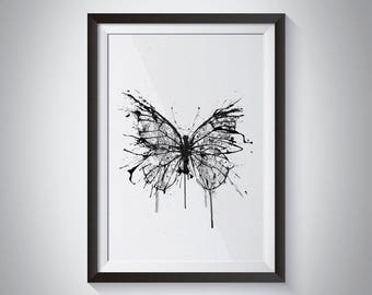 Broken Butterfly, Butterfly Art, Ink Drawing, Butterfly Wall Art, Butterfly Poster, Large Wall Art, Nature Art, Black And White Art, Messy