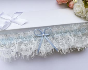 Ivory eyelash lace garter, lace wedding garter, lace garter, pearl garter, something blue garter, blue wedding garter, bridal garter