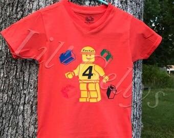 boys shirt,toddler shirt,custom kid shirt,birthday shirt 4,lego man,lego party,lego birthday shirt,lego shirt,custom lego shirt,legos,