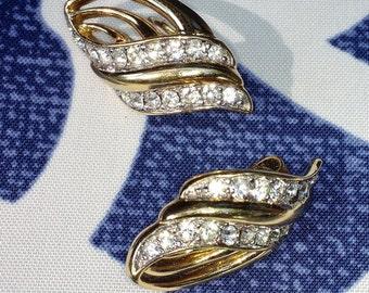 Vintage Trafari Goldtone and Rhinestone Earrings
