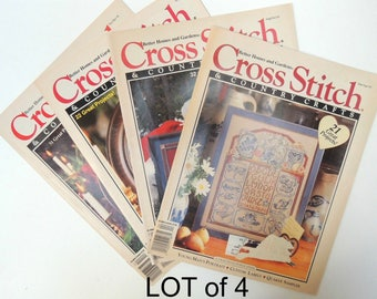 LOT of 4 Cross Stitch Magazines: Embroidery Patterns. Charts, Photos, Instructions, Grafts, Diagrams. Many Projects. Issued 1991-93 BK70