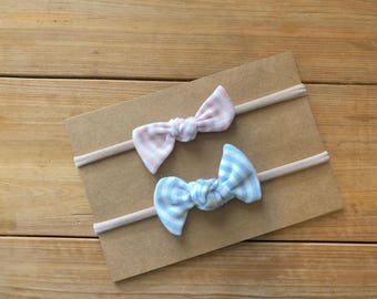 Set of 2, Striped Knot Bow, baby bow, soft, nylon headband, clip, infant, toddler, baby gift