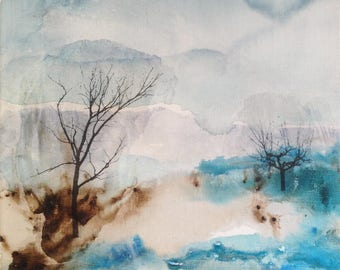 Original painting - Trees in winter - Ink and collage on linen canvas. Abstract landscape