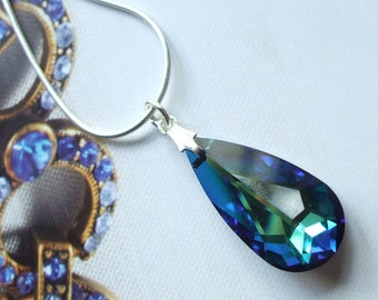 Bermuda Blue Swarovski Crystal pendant Necklace - Sterling Silver chain and length of choice