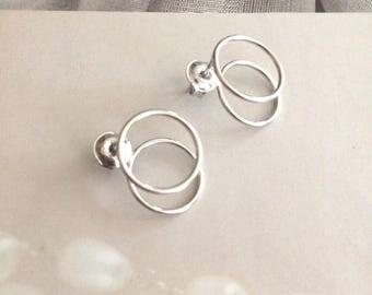 """Sterling Silver circle stud earrings - """"Double Trouble"""" - Minimalist Boho Chic earrings"""