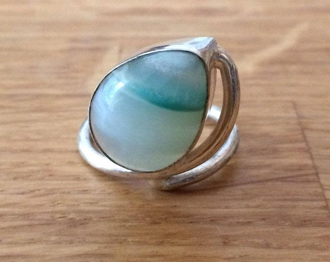 Large green Agate ring - Sterling Silver Aqua green teardrop gemstone ring UK Size Q, US 8.25