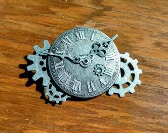Silver Clock Face Steampunk Brooch
