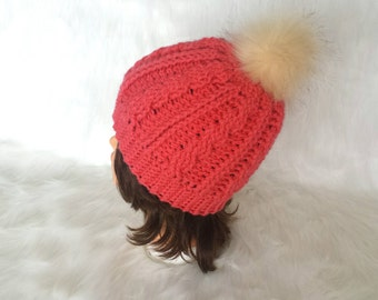 CABLE POMPOM HAT winter beanie with a faux pompom gift for her
