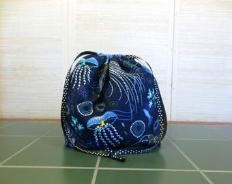 Into the Deep - Large Drawstring, Divided Knitting Project Bag, Crochet Bag, Sweater Project Bag, Knitting Organizer, Jellyfish