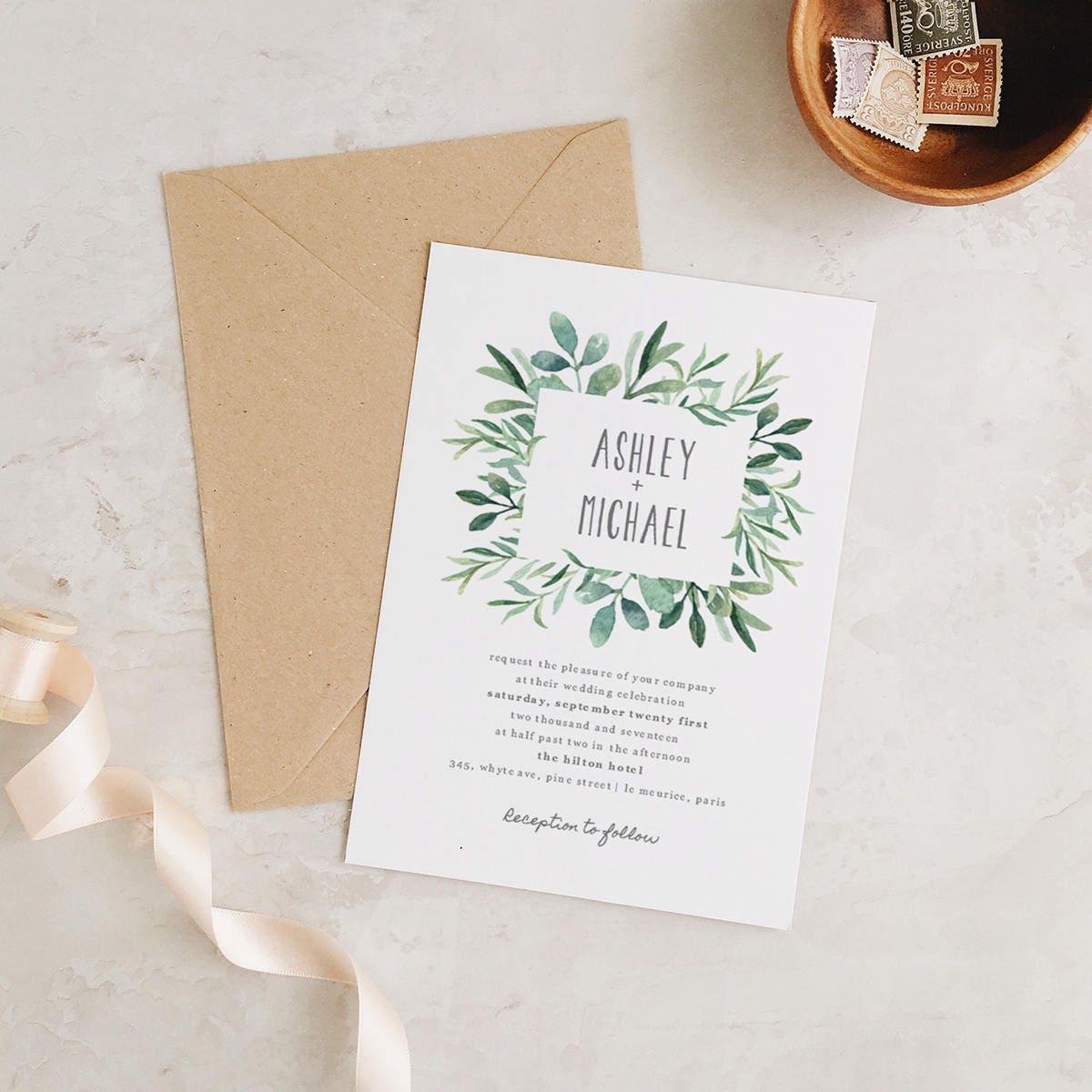 Diy Wedding Invitations Canada: Greenery Wedding Invitation Template Printable Wedding