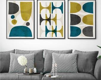 Good Set Of 3 Prints U2013 Abstract Wall Art Prints U2013 Wall Art Set Of Three U2013