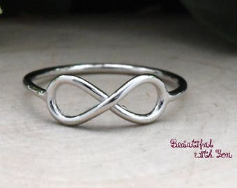 Sterling Silver Infinity Ring Women, Womens Infinity Promise Ring, Infinity Engagement Rings, Simple Everyday Jewelry, Gift Ring for Her