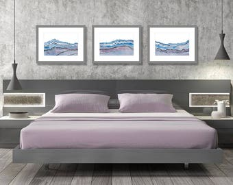 Bedroom Wall Art Set Of 3 Prints Abstract Decor Purple Blue