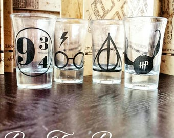 Harry Potter Shot Glasses | Deathly Hallow | Platform 9 & 3/4 | Snitch | Gifts for him | Gifts for her | Vintage