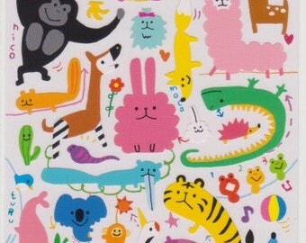 Yuru Animal Stickers - Japanese Stickers - Mind Wave Stickers - Reference A4077-78