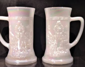 Vintage Beer Steins. Irridized Milk Glass Steins-A Pair