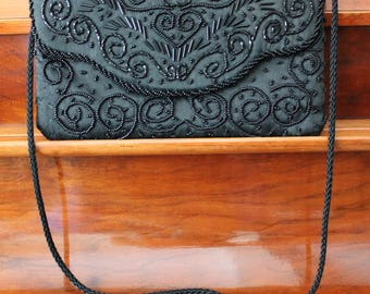 Vintage Black Satin Beaded Evening Bag by Regale Ltd