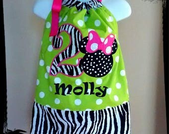 Minnie Mouse Birthday Inspired Pillowcase Dress - Lime Green Dot, Hot Pink, Zebra - 1st 2nd 3rd 4th 5th Birthday Party Vacation WITH Name