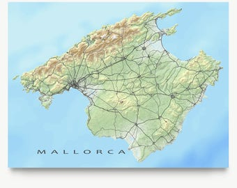 Mallorca Map Print, Landscape Art, Spain, Majorca