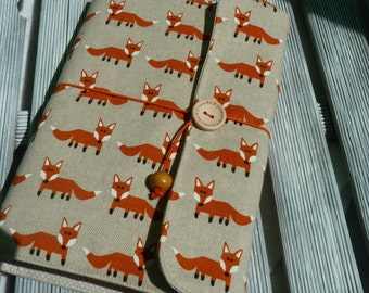 Book Sleeve, Fox book sleeve, Foxes fabric, Fabric book cover, Adjustable book cover, Book pouch, paperback book cover,  Booklovers, Fox