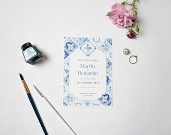 1 x Blue White Portuguese Tiles Save the Date with white envelope Sample