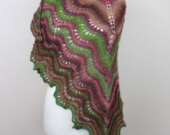 handknit woolen shawl, striped warm shawl, autumn colors scarf, winter shawl