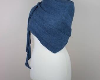 handknit blue triangle shawl, asymmetric woolen scarf, simple reversible stripes neckwarmer