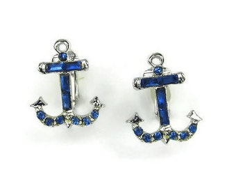 Blue Rhinestone Anchor Earrings