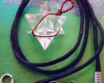 CRYSTAL QUARTZ  MERKABA Pendant With Copper Wrap, Sacred Geometry Merkaba Necklace, With Hemp Chain