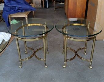 Pair Vintage 1970's Brass Side Tables Maison Jansen Style Mid Century Modern Lacquered Finish Thick Glass Hollywood Regency Great Condition