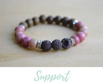 Rhodonite Bracelet / yoga gift for mom, gift from daughter, gift for yoga mom, always be yourself, love stone bracelet, how to love yourself