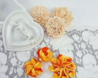 3 orange flower patches, sewing flowers, orange crochet flowers, orange crochet rose, flower appliques, handmade flower embellishments