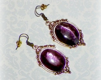 Victorian Earrings Purple Gothic Vintage Style Steampunk Dangle Antique Gold Amethyst Color