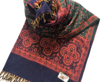 Tibetan Yak Wool Blend Shawl, Navy, Green and Orange, Floral Design