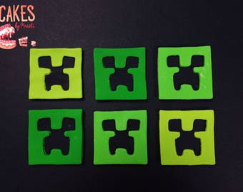 Minecraft Fondant Cupcake Toppers: Set of 6 (MADE TO ORDER)