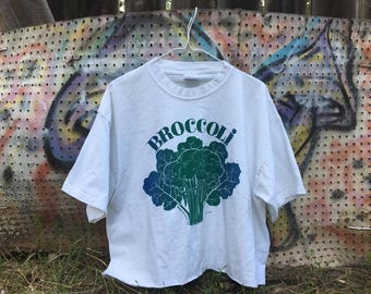 70s Vintage Retro Broccoli T Shirt Crop Top