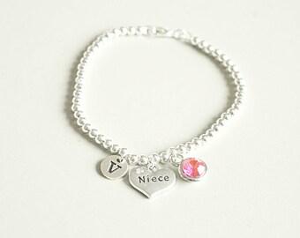 Christmas gift for Niece, Niece Bracelet, Niece Gift, Niece silver bracelet, Gift for Niece, Niece bracelet, Gift for Niece, Personalized