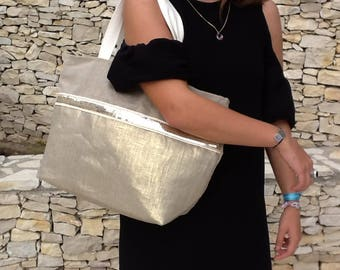 Tote bag glitter gold/linen/flax gold Tote canvas bag glitter gold clear/tote bag gold/big ete2018/XL bag canvas tote