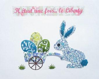 Appliqué thermocollant lapin Pâques brouette oeufs tissus liberty Katie and Millie Betsy Ann bleu et jaune flex pailleté patch à repasser