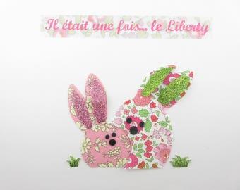 Appliqués thermocollants lapins rigolos en liberty d'Anjo et Capel roses + flex pailleté thermocollant patches funny bunnies iron on pattern
