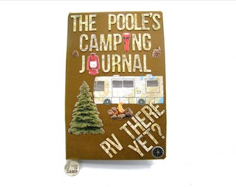 Camping Journal/ RV Journal or scrapbook 9a with Class A motorhome - great personalized gift!