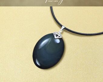 SALE! Protection pendant, Rainbow Obsidian pendant necklace, Protection Jewelry,Protection necklace,Negativity Neutralizer,InfinityCraftArts