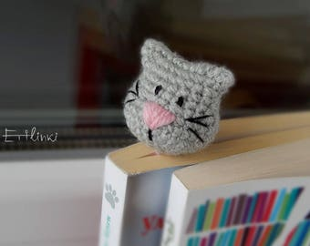 Bookmark Cat Lover Gift for mother of cat Mom gift Pet owner accessory Kids bookmark Cute kitten Grey cat with pink nose Kitty Girls Kawaii