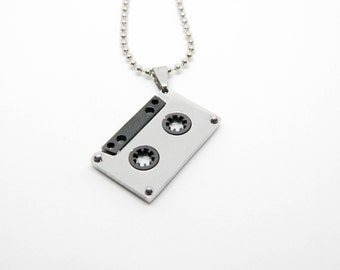 Necklace Steel Cassette music tape 80s DJ songs Amarcord compilation
