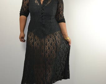 Vintage Black Dress | 90's Lace Up Tie Back Long Sleeve Lace Button Front Maxi Boho Summer Dress | All That Jazz | size small