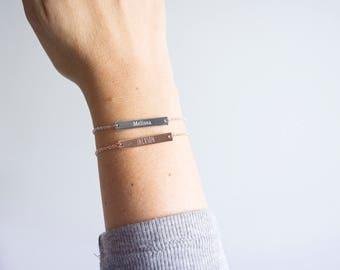 Name Bracelet, Engraved bar bracelet, Silver Gold or Rose gold plated, Date Bracelet